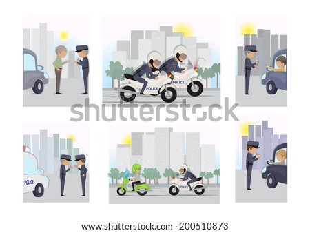 Police - Public Safety and Security Jobs Set - Isolated On White Background - Vector Illustration, Graphic Design Editable For Your Design   - stock vector