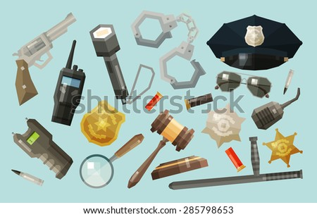 police, security icons set. collection of elements - baton, flashlight, gun, pistol, shocker, magnifier, cap, handcuffs, sun glasses, bullet, radio - stock vector