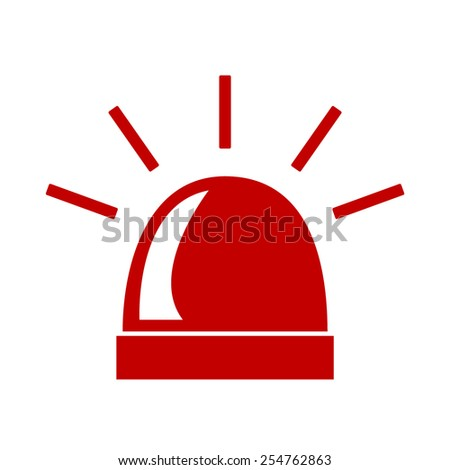 Police single red icon isolated. Vector - stock vector