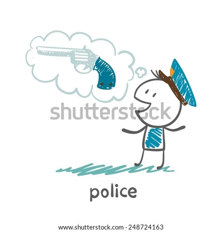 Police think about weapons illustration - stock vector