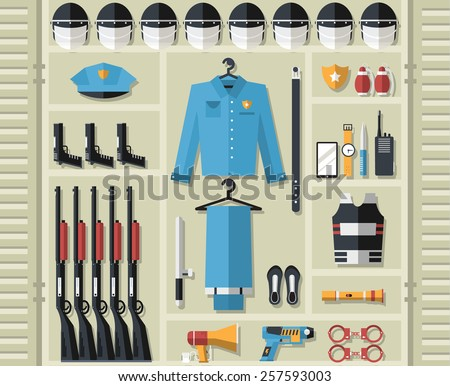 police uniform and set protection staff equipment in the closet office. On flat style background concept. Vector illustration for colorful template for you design, web and mobile applications - stock vector
