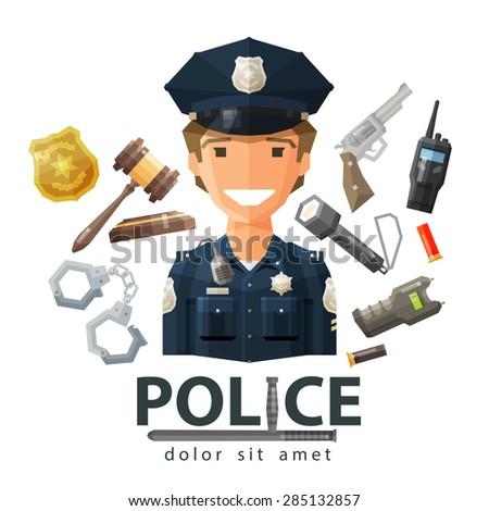 police vector logo design template. policeman, cop or law, constabulary icon - stock vector