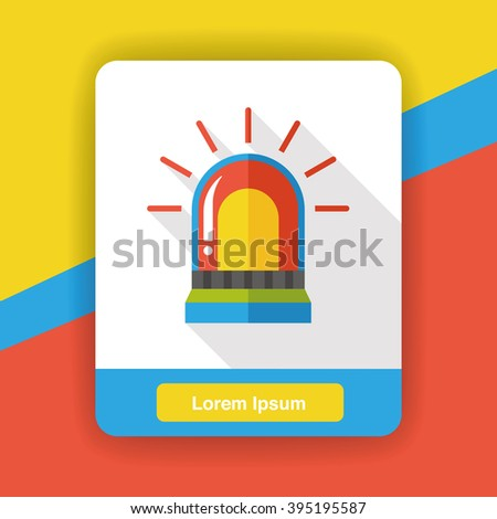 police warning lights flat icon - stock vector