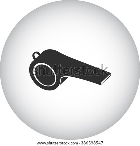 Police whistle coach simple icon on round  background - stock vector