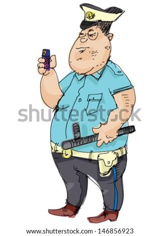 policeman - cartoon - stock vector