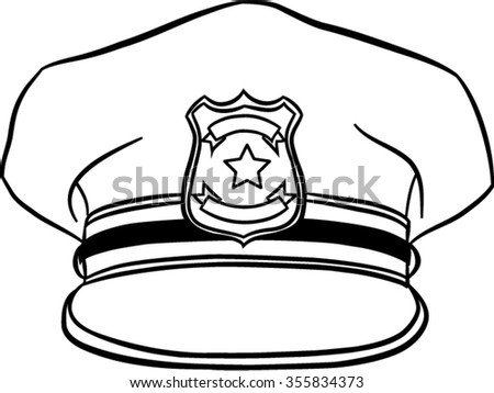 policeman hat isolated illustration - stock vector
