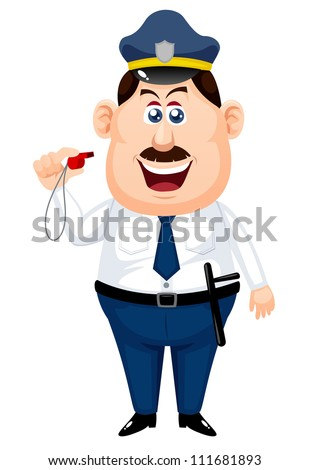 Policeman on a white background - stock vector