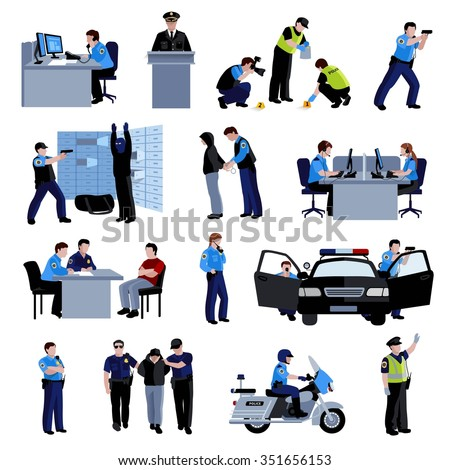 Policeman people at office and outside with police car and situation arrest of offender and interrogation flat color icons set isolated vector illustration - stock vector