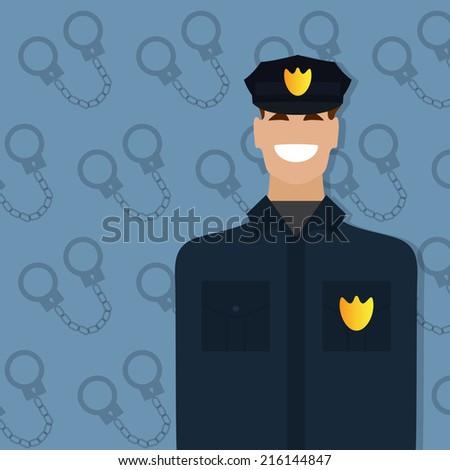 Policeman, people occupation. Man in uniform. Vector illustration - stock vector