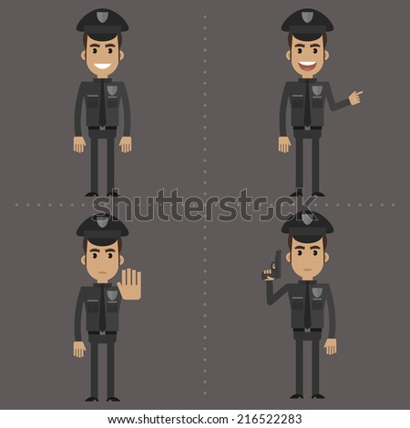 Policeman shows in different poses - stock vector