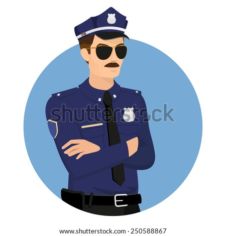 Policeman wearing uniform in blue circle isolated on white vector illustration. - stock vector