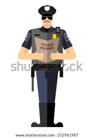 Policeman with a report of a standing ovation. Police isolated. The Arrest - stock vector