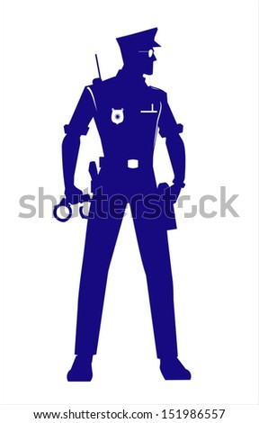 Policeman with the alert standing position holding a Handcuffs at the right hand. full body silhouette. Policeman silhouette.  Policeman isolated . - stock vector