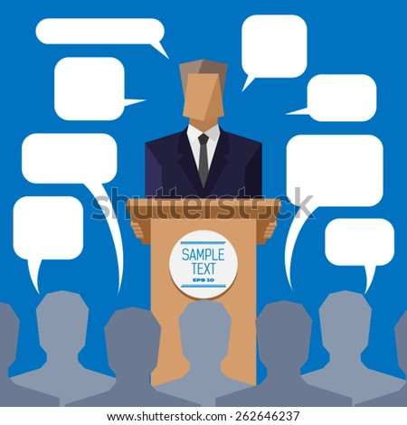 policies behind the podium to the people with speech bubbles - stock vector