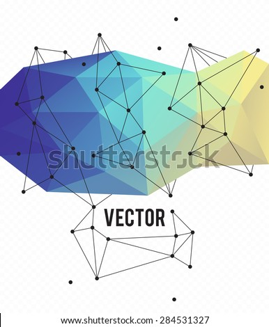 Poligon background. The main elements of lines and triangles. - stock vector