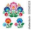 Polish floral folk embroidery pattern - wycinanka, wzory ?owickie - stock vector