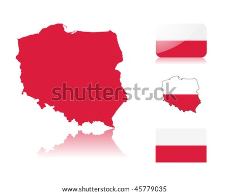 Polish map including: map with reflection, map in flag colors, glossy and normal flag of Poland. - stock vector