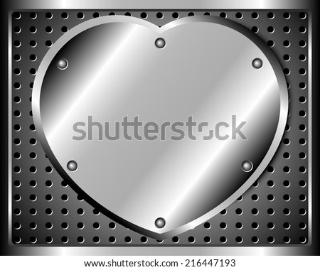 Polished steel heart and a riveted metal grid - stock vector