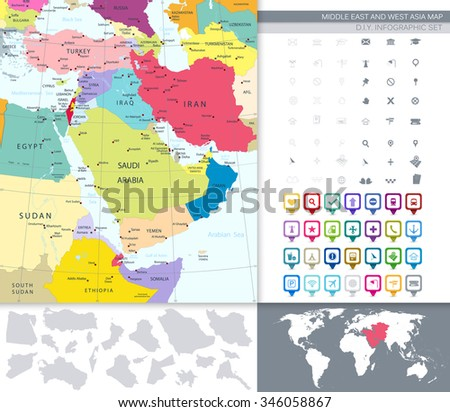 Political Map Of Middle East And Asia With A Square Flat Icon Set. - stock vector