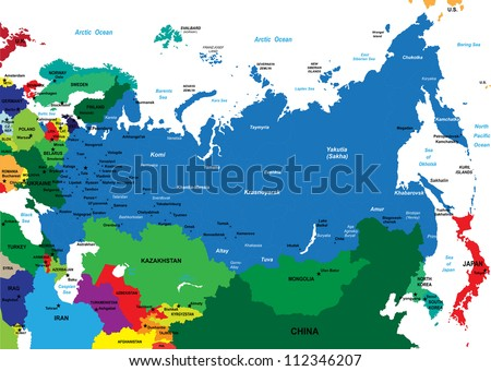Political map of Russia - stock vector