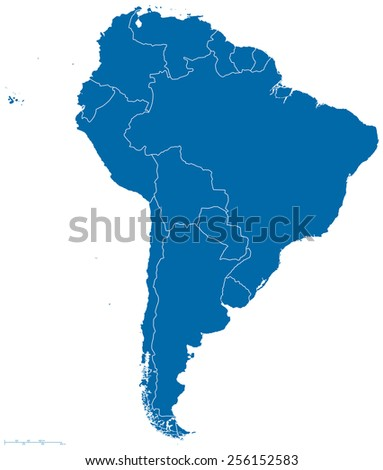 Political map of South America with all countries and national borders. Blue outline illustration on white background and english scaling. - stock vector