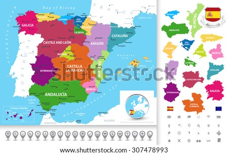 Political map of Spain with administrative divisions (regions), cities, separated lands outline and navigation icons collection/Political map of Spain with navigation icons collection. - stock vector