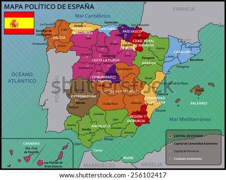 Political Map of Spain with Flag and Badge - stock vector