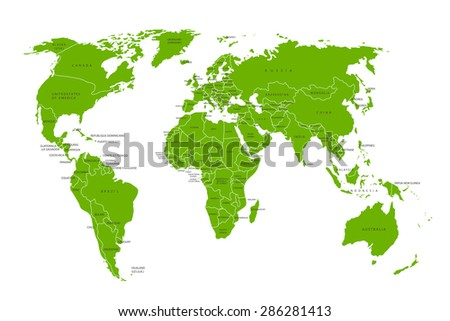 Political map of the world. Green world map-countries. Vector illustration - stock vector