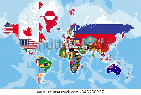 Political map of the world with country flags. - stock vector