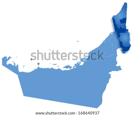 Political map of United Arab Emirates with all Emirates where Ras al -Khaimah is pulled out  - stock vector