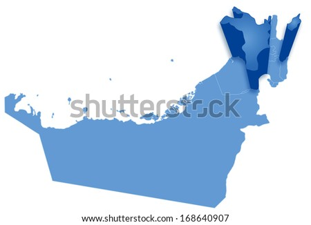 Political map of United Arab Emirates with all Emirates where Sharjah is pulled out  - stock vector