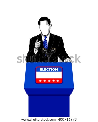 Politician giving an election campaign speech - stock vector