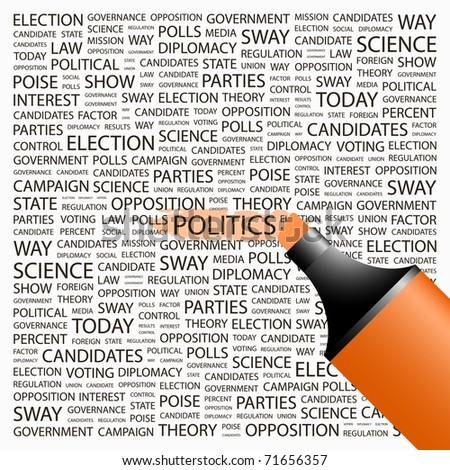 POLITICS. Highlighter over background with different association terms. Vector illustration. - stock vector