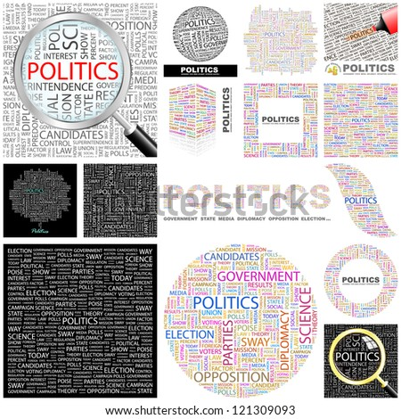 POLITICS. Word collage. Vector illustration. - stock vector