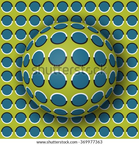 Polka dot ball rolling along the polka dot surface. Abstract vector optical illusion illustration. Extravagant background and tile of seamless wallpaper. - stock vector