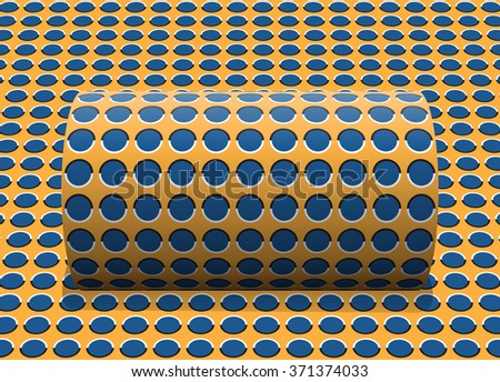 Polka dot cylinder is rolling along the inclined surface. Abstract vector optical illusion illustration. - stock vector