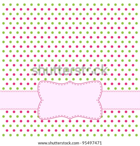 Polka dot design frame with pink label - stock vector