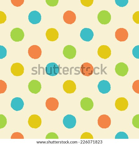 Polka dot seamless pattern. Vintage seamless polka dot pattern with rough orange, yellow, green and blue circles on a light beige background, vector EPS8. - stock vector