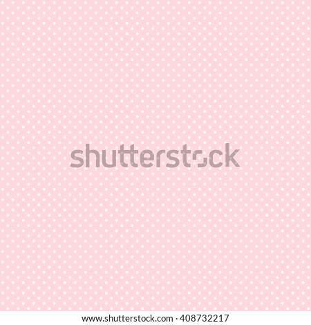 Polka dot seamless pattern. White dots on pink background. - stock vector