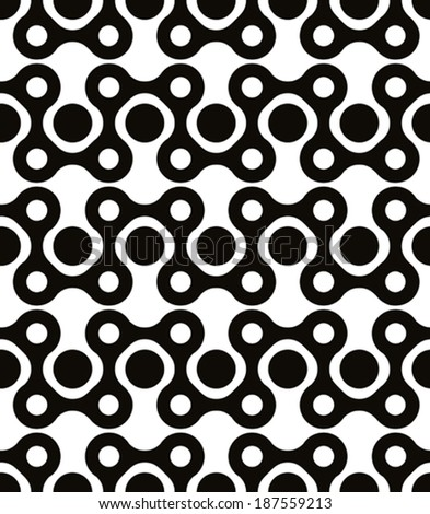 Polka dot seamless pattern with rounded geometric figures, black and white - stock vector