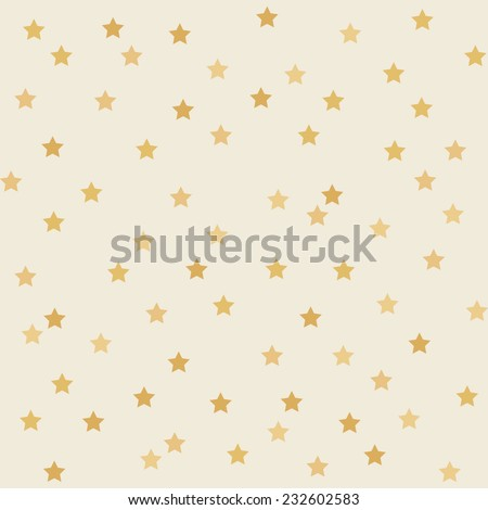 Polka dot star golden paper grunge vector seamless pattern on realistic texture - stock vector