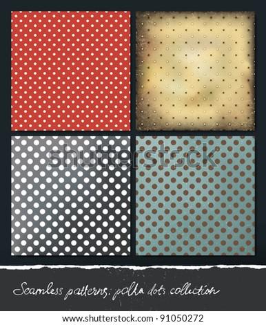 Polka dots backgrounds collection. VEctor, EPS10. - stock vector