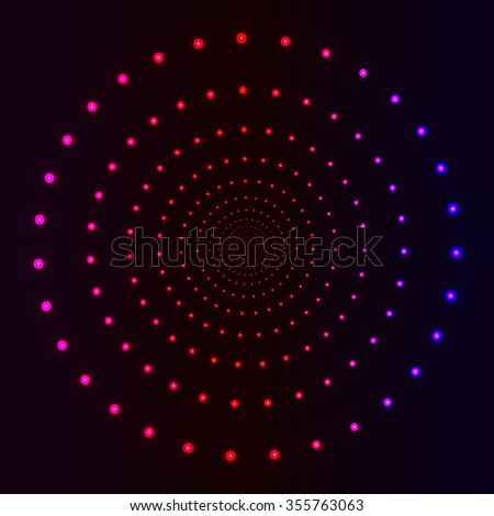 Polka dots neon blur led lights illusion background, 3d tunnel made of circles with glowing effects, vector backdrop for techno style disco club laser show poster invitation  - stock vector
