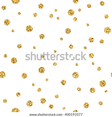 Polka dots seamless pattern. Gold glitter and white template. Abstract geometric texture. Golden circles. Retro Vintage decoration. Design template wallpaper, wrapping, fabric etc. Vector Illustration - stock vector