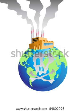 polluted earth - stock vector