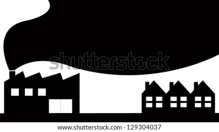 polluted production and cities vector - stock vector
