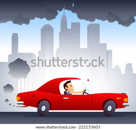 Polluting environment car driven by smiling and confident man. City background vector illustration cartoon. - stock vector