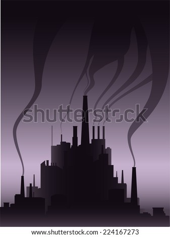 Polluting industry icon illustration - stock vector