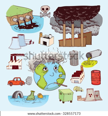 Pollution doodle, Vector - stock vector