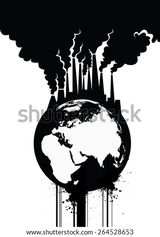 Pollution Earth Grunge Vector Illustration  - stock vector